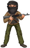 Terrorist with mask and gun Royalty Free Stock Image