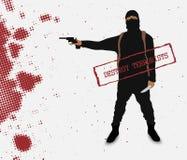 Terrorist med en kniv i likformig Arkivbild