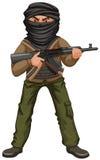 Terrorist med maskeringen och vapnet Royaltyfri Bild