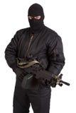 Terrorist mit dem Maschinengewehr lokalisiert lizenzfreie stockfotos