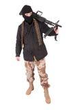 Terrorist mit Maschinengewehr m60 lizenzfreie stockfotos