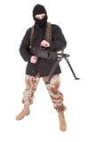 Terrorist mit Maschinengewehr m60 stockfotos