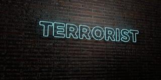 TERRORIST - realistiskt neontecken på bakgrund för tegelstenvägg - 3D framförd fri materielbild för royalty Royaltyfria Foton