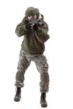 Terrorist with rifle. Isolated on white background stock images