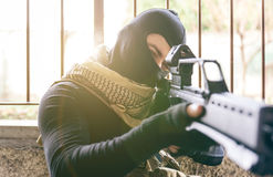 Terrorist shooting Stock Photography