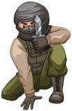 Terrorist som bär en fick- kniv Royaltyfri Fotografi