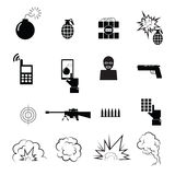 Terrorist and spy icons set Stock Photography