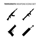 Terrorist weapons icons set. Vector illustration Royalty Free Stock Images