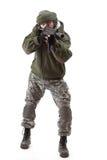 Terrorista con el rifle imagenes de archivo