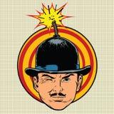 Terrorista del espía en la mecha de la bomba del sombrero Imagenes de archivo