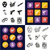 Terroriste All dans les icônes une noires et la conception plate de couleur blanche à main levée réglée Photographie stock