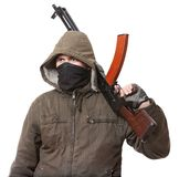 Terroriste avec l'arme Photos stock