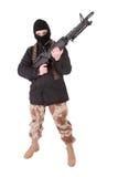 Terroriste avec la mitrailleuse m60 photos libres de droits