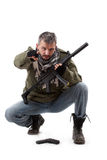 Terroriste avec le canon image stock