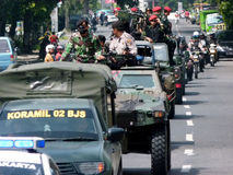 Terrorists attacks. The army and police patrols in anticipation of terrorist attacks in the city of Solo, Central Java, Indonesia stock photo