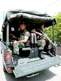 Terrorists attacks. The army and police patrols in anticipation of terrorist attacks in the city of Solo, Central Java, Indonesia royalty free stock photo