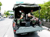 Terrorists attacks. The army and police patrols in anticipation of terrorist attacks in the city of Solo, Central Java, Indonesia stock photos