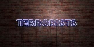 TERRORISTS - fluorescent Neon tube Sign on brickwork - Front view - 3D rendered royalty free stock picture Royalty Free Stock Photography