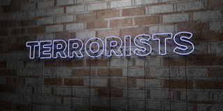 TERRORISTS - Glowing Neon Sign on stonework wall - 3D rendered royalty free stock illustration Stock Images