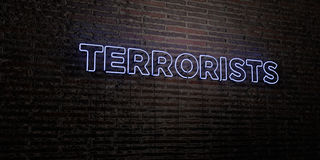 TERRORISTS -Realistic Neon Sign on Brick Wall background - 3D rendered royalty free stock image Stock Photo