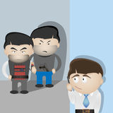 Terrorists and scared man. Basic safety concept Royalty Free Stock Image