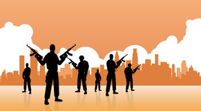 Terrorystyczna grupa Nad miasto widoku sztandarem royalty ilustracja