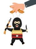 Terrorystyczna kukła z pistoletem, bombą i nożem na arkanach, Terrorystyczna marionetka na arkanach kontrolować Fotografia Stock