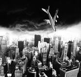 Terrorystycznego ataka jumbo jet porwanie samolotu Zdjęcia Stock