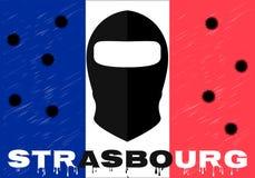 Terrorystyczny akt Październik 11, 2018 w Strasburskim Francja Strzelać, opłakujący dla nieboszczyka, terrorysta, dziura po kuli royalty ilustracja