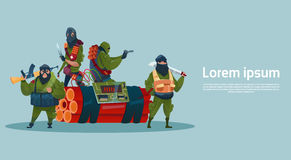 Terroryzm Zbrojący Terrorystycznej grupy czerni maski chwyta broni Maszynowy pistolet royalty ilustracja