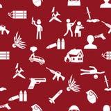 Terroryzmu temat ustawiający prostej ikony czerwony bezszwowy wzór eps10 Fotografia Stock