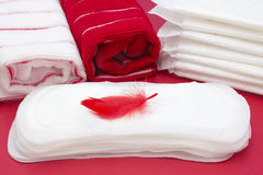 Terry bath towels, red feather on menstrual woman pad for blood period hygiene. Woman critical days, gynecological menstruation cy. Cle. Medical concept photo stock image