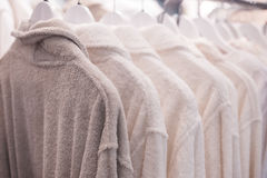 Free Terry Bathrobes Hanging In The Closet On Trempel Stock Images - 86163834