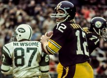 Terry Bradshaw QB Pittsburgh Steelers arkivbild