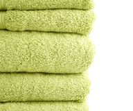 Terry cloth bath towel composition Stock Photos