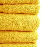 Terry cloth bath towel composition Royalty Free Stock Images