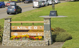 Terry Fox statue at Mile 0 monument in Victoria Canada Stock Photography