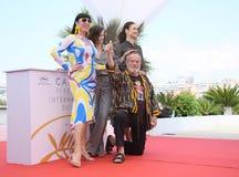 Terry Gilliam, Olga Kurylenko, Rossy de Palma, Joana Ribeiro. Attend `The Man Who Killed Don Quixote` Photocall during the 71st Cannes Festival at Palais on May Royalty Free Stock Photos