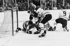 Terry O'Reilly e Johnny Bucyk, Boston Bruins Foto de Stock