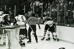 Terry O'Reilly and Keith Magnusson fight. Stock Photo