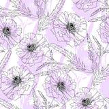 Terry poppy. Floral seamless texture. Stock Photos