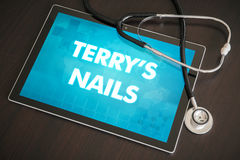 Terry's nails (cutaneous disease) diagnosis medical concept on t. Ablet screen with stethoscope Royalty Free Stock Images