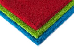 Terry towels. Three terry towels forming RGB colors, isolated on white Stock Photography