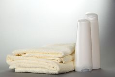 Terry towels and cosmetics set Stock Images