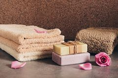 Free Terry Towels, Handmade Soap, Loofah Sponge And Rose Petals. Set Of Bath And Spa Accessories Stock Photo - 160122870