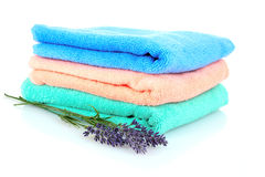 Terry towels and lavender isolated Stock Photo