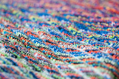 Terrycloth mixed colors, macro. Colorful frottee pattern, blurry close up Stock Image