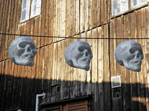 Terryfying funny skulls, Halloween's instalation, Zagreb 2015., 3 Royalty Free Stock Images