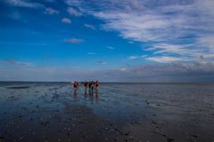 A group of tourists walks on the seabed at low tide from Holland to the island on a beautiful sunny bright day with a blue sky royalty free stock image