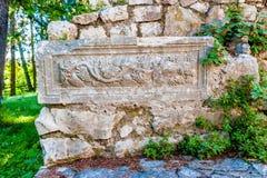 Återstår av den romerska villarusticaen som daterar från det fjärde århundradet Royaltyfri Bild